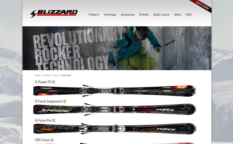 Blizzard Skis Ecommerce Website Design