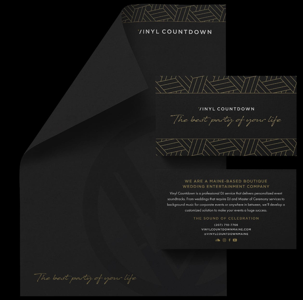 Letterhead and Postcard on Black Background